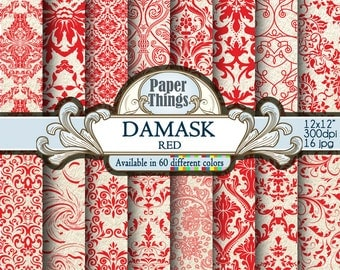 Red Scrapbook Paper, Red Damask, White and Red DigitalDamask Background, Red Floral Digital Paper Instant Download 12 x 12 inch