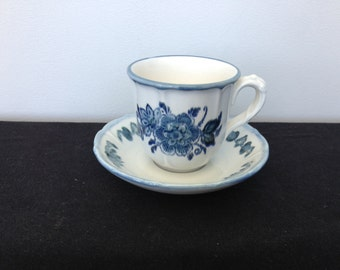 Vintage Metlox Poppytrail Colonia Garden Blue Coffee Cup and Saucer