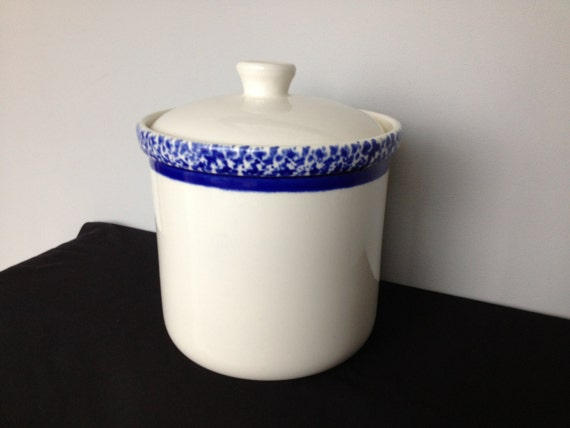 Treasure Craft Blue And White Spongeware Cookie Jar