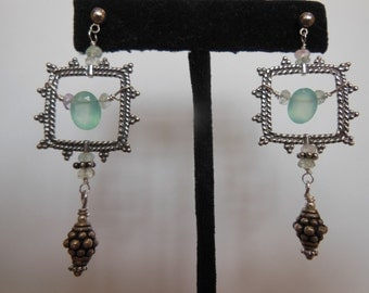 Sterling silver bali detailed square with Hill Tribe sterling silver, Chalcedony & Moonstone drop earrings