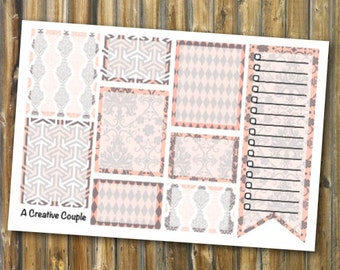 Paisley Peach Weekly Spread Boxes ECLP Stickers