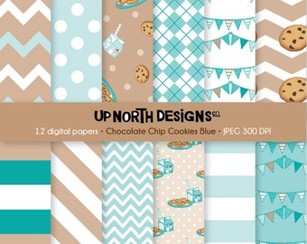 Chocolate Chip Cookies Digital Paper Milk Clipart Cookies Scrapbooking Digital Paper Blue Paper Set Bunting Personal and Commercial Use