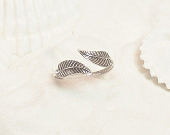 Sterling Silver Leaf Toe Ring, Silver Midi Ring, Silver Toe Ring, Adjustable Pinkie Ring, Adjustable Midi Ring, Adjustable Toe Ring