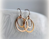 Double Hoop Earrings Rose Gold Hoop Earrings Pink Gold Circle Earrings Rose Gold Circle Earrings Gift for Her Bridesmaid Gift Blissaria