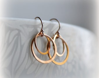 Double Hoop Earrings, Rose Gold Hoop Earrings, Pink Gold Circle Earrings, Rose Gold Circle Earrings, Gift for Her, Bridesmaid Gift Blissaria