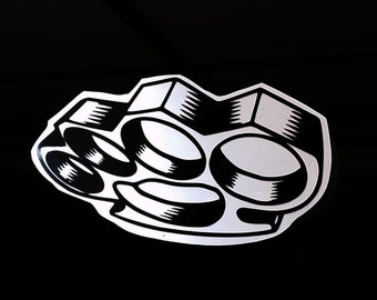Black Gloss Brass Knuckles Vinyl Decal