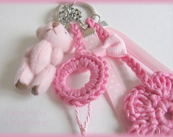 Adorable Keychain pink knitted hand crochet pure cotton node Ribbon tassel
