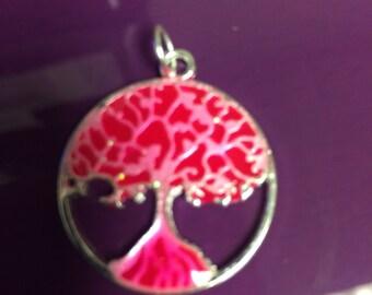 Bright pink Tree Of Life glow pendant