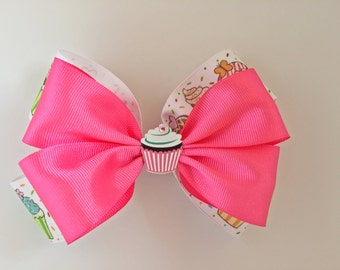 Pink Cupcake hair-bow, cupcakes, hair/baby, hair bows