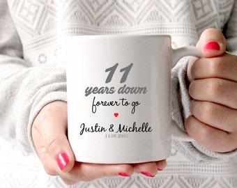 11e verjaardag cadeau, 11e huwelijksverjaardag, 11 jaar, 11 jaar van de ideeën van de gift van de verjaardag, huwelijk, gepersonaliseerde mok, gave mok