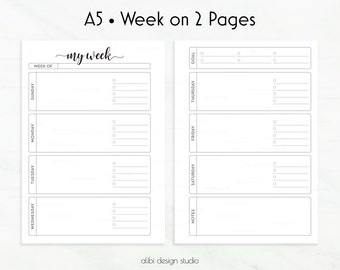 Weekly Planner, A5 Planner Inserts, Week on Two Pages, Undated Calendar, Undated Weekly, A5 Planner, Printable Planner, a5 Week Planner