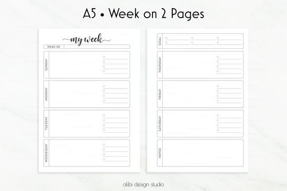 Weekly Calendar Undated : Weekly planner a inserts week on two pages undated