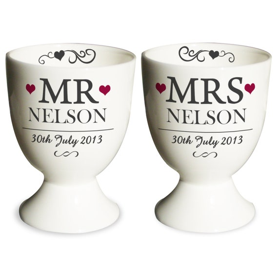 Mr & Mrs Pair of Egg Cups - Personalised Kitchen Gifts - For The Couple - Ceramic - Perfect for Wedding, Anniversary.