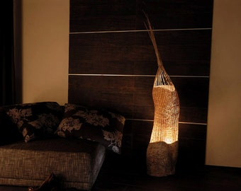 Highlighted Sculpture with abstract design made of environmentally friendly materials and light, named Ogo