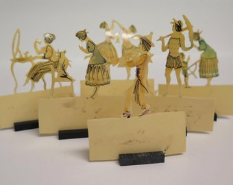 Charming 1920's Figural Celluloid Place Card Holders, Set of 6, Hand Made