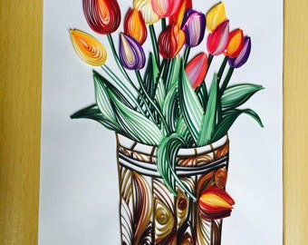 Full of Bright Colours Quilling Tulips Picture