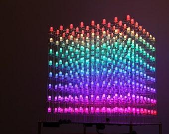 Full Color 3D LightSquared Led Cube RGB 8x8x8 DIY Kit PCB Soldered no hard case