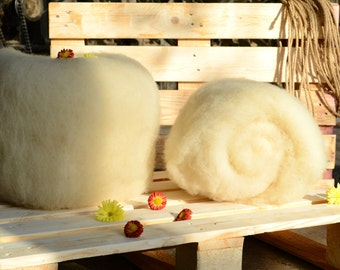 Carded Wool Batts - Natural Wool - Fiber For Arts And Crafts - Needle Felting Wool