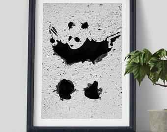 Panda With Guns by Banksy Wall Art Print on Gallery wall decor, banksy prints , wall Art Print , guerilla art, street art, poster print
