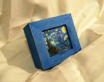 Dr. Who 11th Doctor Van Gogh and Tardis inspired Ring box~ Quote inside reads : For the Girl Who Waited
