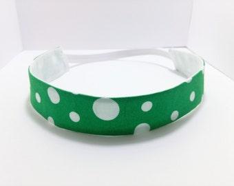 Green Polka Dot Headband, White and Green Headband, Fabric Headband That Fits Most Kids, Teens and Adults, Christmas Headband, Accessories