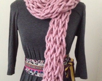 Baby Pink Handmade Arm-Knitted Super Chunky Scarf