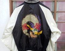 Rare Vintage Japan Peacock Dragon Yokosuka Sukajan Embroidery Japanese Souvenir Satin Bomber Jacket