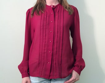Vintage 70s Red Blouse, Vintage Top, Red Blouse, Sheer Top