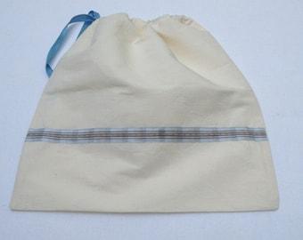 shoe bag ecru cotton with ribbon
