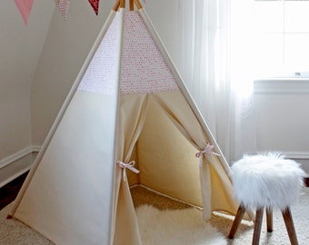 Perfectly Pink Teepee WITH POLES (kids teepee, childrens teepee, tipi, playtent, wigwam, childrens decor)