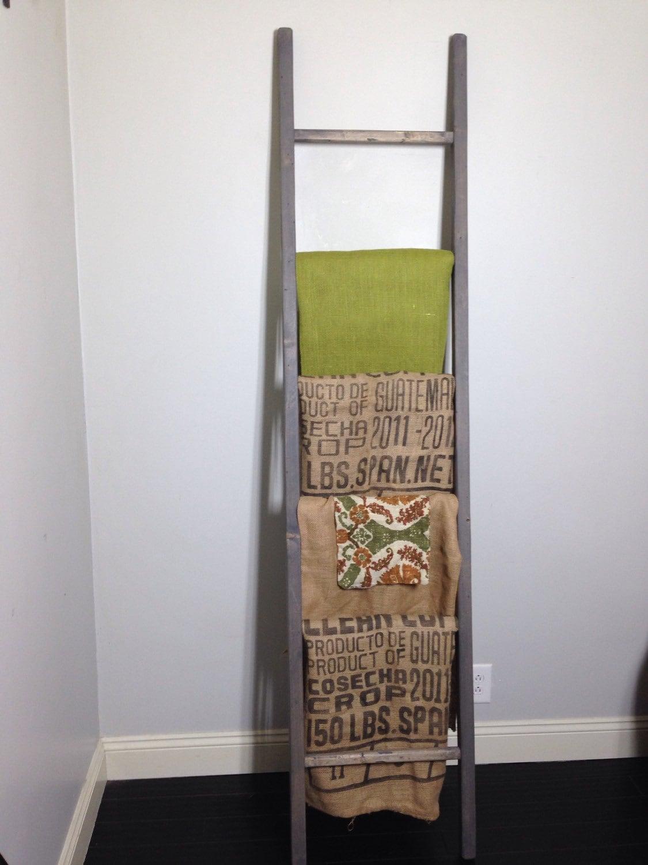 84x19 Blanket Ladder 7ft Wood Quilt Rustic Towel Rack