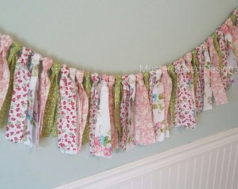 Vintage Flower Garland, Nursery Decor - Party Decor - Photo Prop