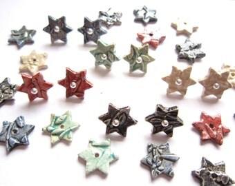 Ceramic raku star earstuds