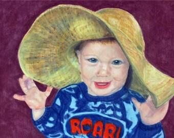 Painting,Art,Pastel,Original Art,Prints,Art Prints,Giclee,Portrait,Home Decor,Gift Ideas,Boy,Hat,Pastel Art,Portrait Painting,Fine Art