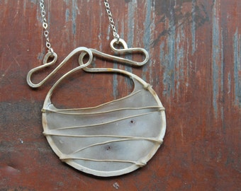 "Gate Necklace : Abaca Paper and Brass Pendant on 30"" Sterling Silver Chain"