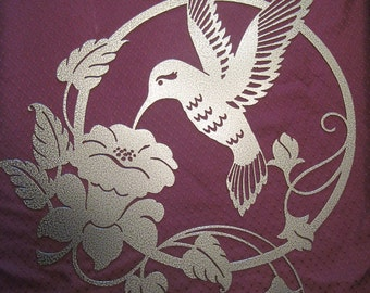 Decorative metal art wall hanging hummingbird and flower decor with durable powder coat finish