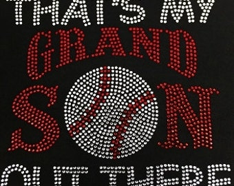 That's my Grandson out there Rhinestone embelished T-Shirt!  Basketball, Baseball and Football
