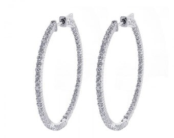 2.20 Carat Eternity Inside Out Diamond Hoop Earrings 14K White Gold