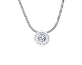 0.50 Carat Round Cut Diamond Pendant Necklace 14K White Gold