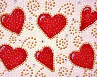 Mosaic-inspired hearts canvas