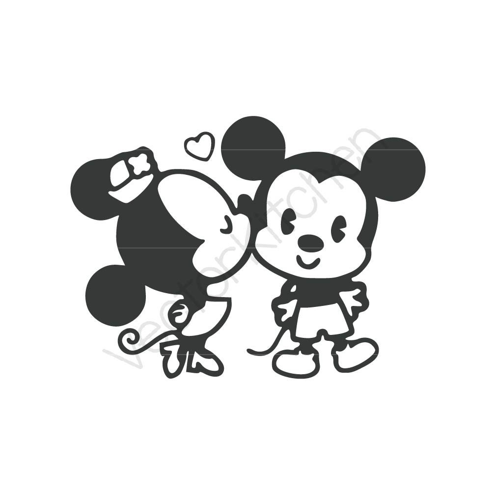 Retro kissing mickey minnie inspired cutting template svg - Dessin mickey swag ...