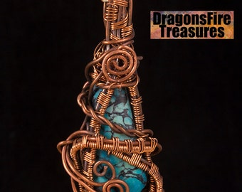 Aged Copper wire wrapped blue ocean jasper, on black leather thong