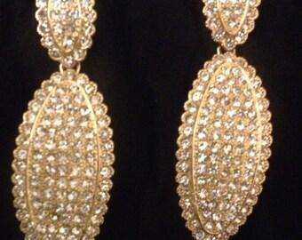 Elegant Gold Rhinestone Dangling/Chandelier Earring