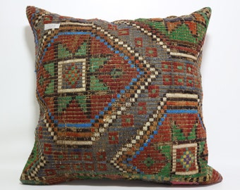 Large 24x24 Carpet Kilim Pillow Multicolor Kilim Pillow boho Pillow Kilim Cushion Cover Floor Pillow Deecorative Pillow SP6060-523