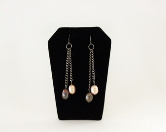 Chocolate and Pink Pear Earrings