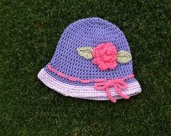 Cotton sun hat . Handmade