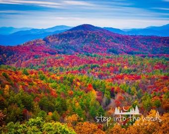 Blue Ridge Parkway Autumn Mountaintop; Landscape, Nature Photography, Blue Ridge Mountains, Autumn Leaves, North Carolina Mountains