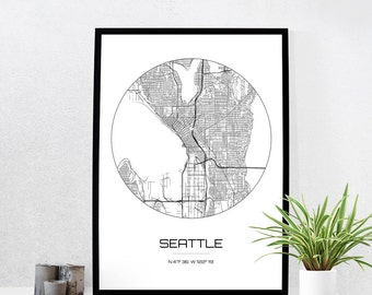 Seattle Map Print - City Map Art of Seattle Washington Poster - Coordinates Wall Art Gift - Travel Map - Office Home Decor