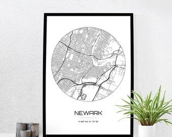 Newark Map Print - City Map Art of Newark New Jersey Poster - Coordinates Wall Art Gift - Travel Map - Office Home Decor