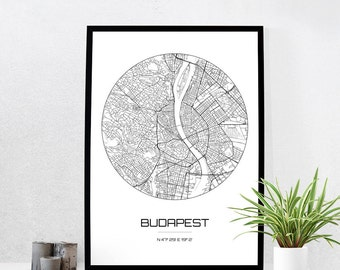 Budapest Map Print - City Map Art of Budapest Hungary Poster - Coordinates Wall Art Gift - Travel Map - Office Home Decor